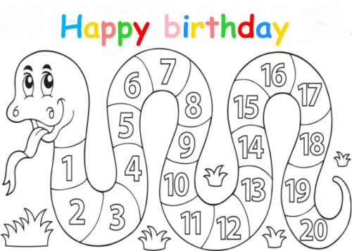 Colouring in card with numbers snake