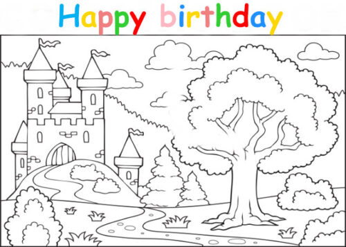 Colouring in card with fantasy castle