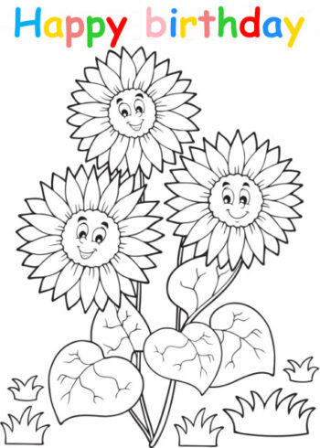 Colouring in card with flowers