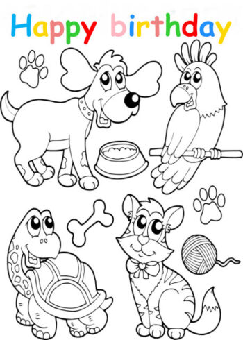 Colouring in card with animals