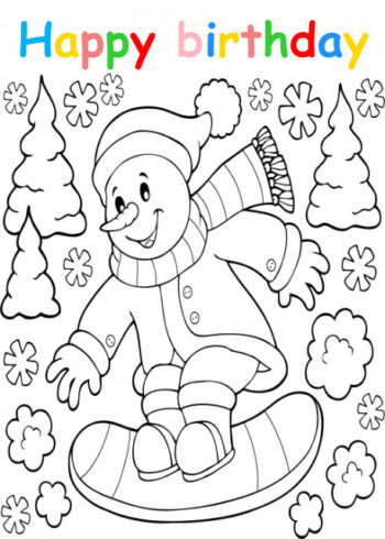 Colouring in card with snowman snowboarding