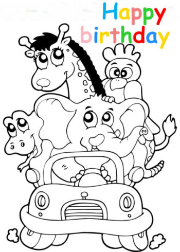 Colouring in card with jungle animals in car