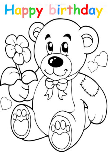Colouring in card with teddy holding flower