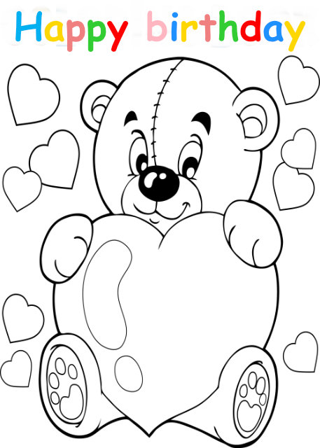 Colouring in card with teddy holding heart