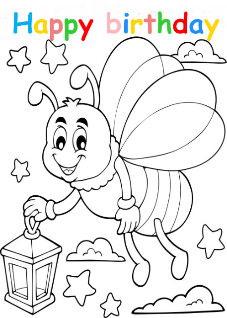 Colouring in card with bee