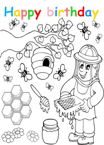 Colouring in card with bee keeper