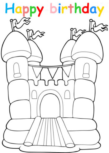 Colouring in card with bouncy castle