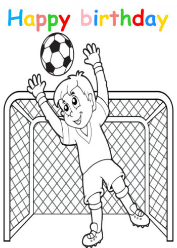 Colouring in card with boy footballer