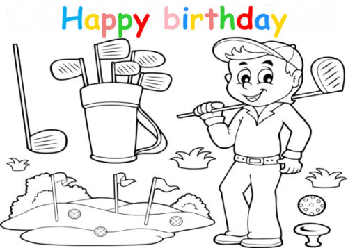 Colouring in card with boy golfer