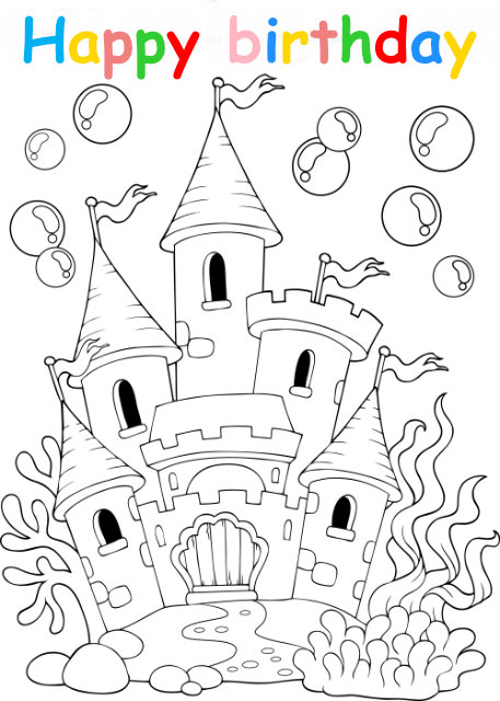 Colouring in card with princess castle
