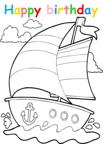 Colouring in card with sailing boat