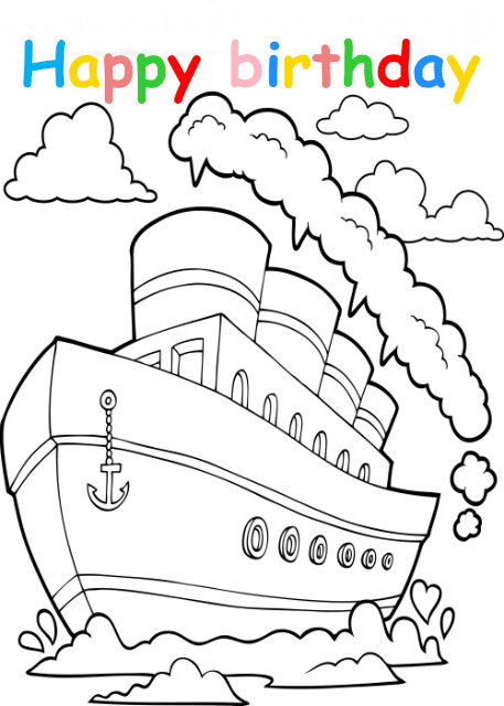 Colouring in card with ship