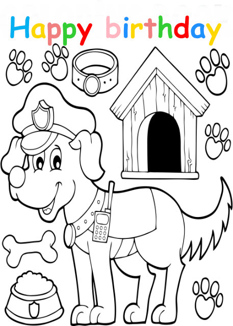 Colouring in card with police dog