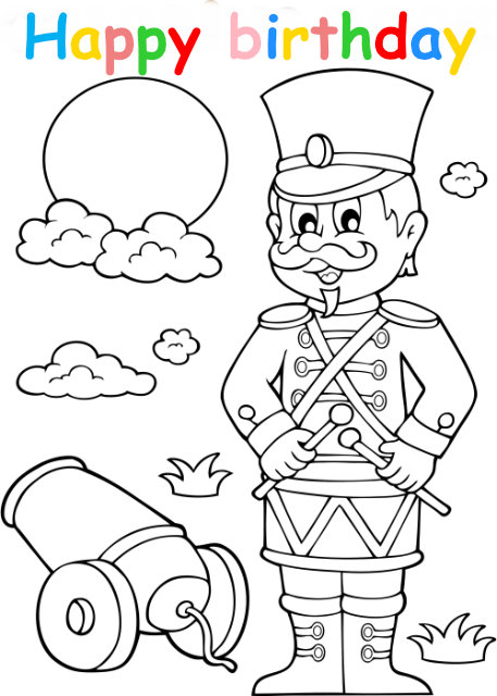 Colouring in card with soldier
