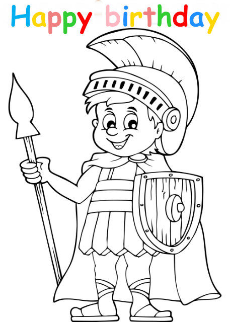 Colouring in card with warrior