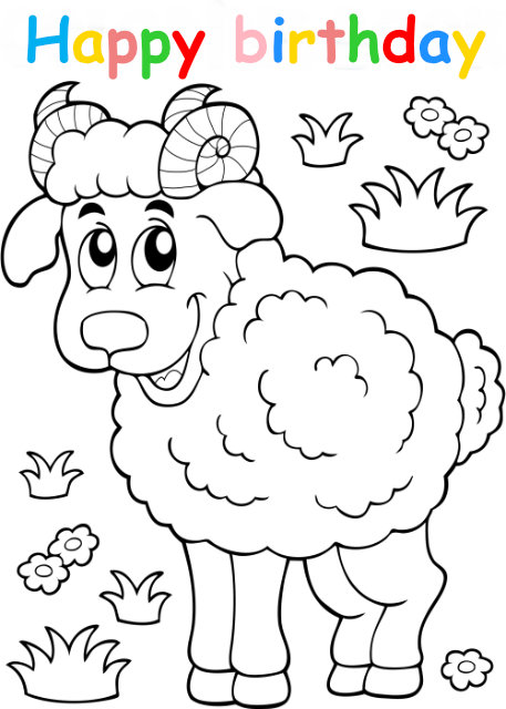 Colouring in card with sheep