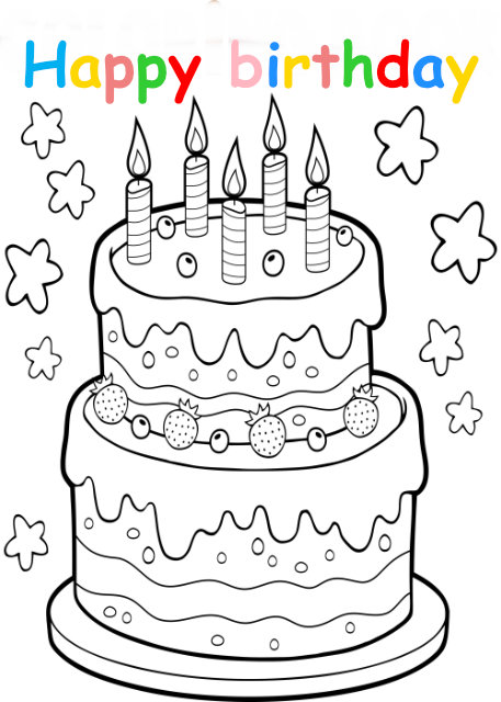Colouring in card with birthday cake