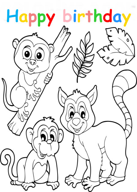Colouring in card with monkeys and raccoon