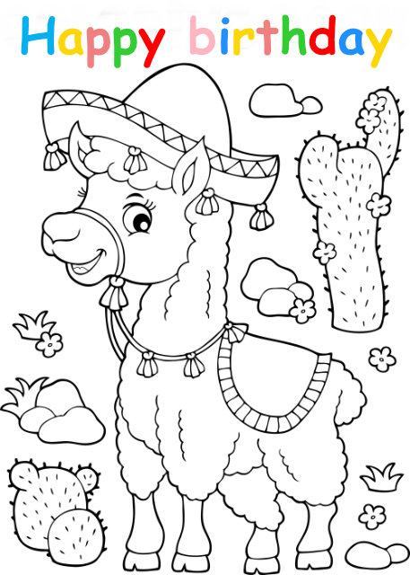 Colouring in card with lama
