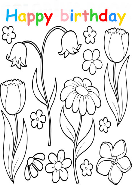 Colouring in card with flowersc