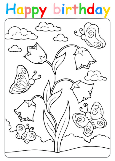Colouring in card with flowers and butterflies