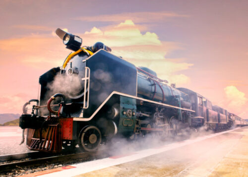 Close up of a steam train