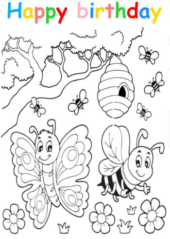 Colouring in card with butterfly and bees