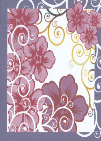 Pink flowers with a purple border birthday card