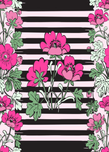 Pink flowers with black striped background birthday card