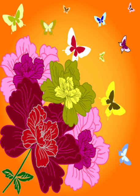 Colourful flowers and butterflies with orange background birthday card