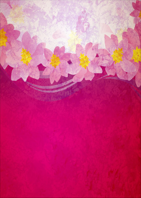 Flowers with deep pink background birthday card