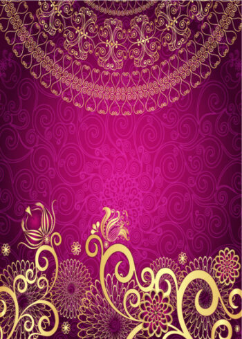 Deep pink floral and ornate pattern birthday card