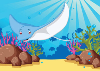 Happy ray fish swimming in the ocean birthday card