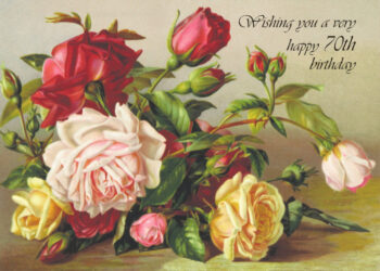 Print of painted flowers 70th birthday card