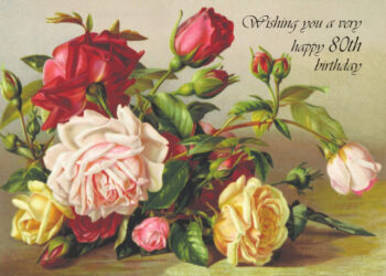 Print of painted flowers 80th birthday card