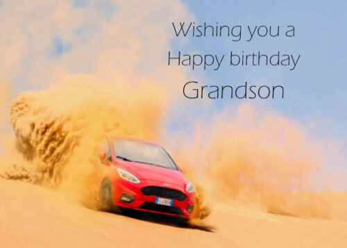 Red Ford Fiesta racing on dusty road Grandson birthday card