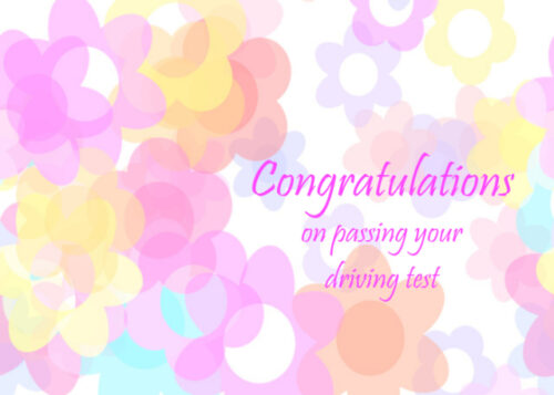 Pastel flowers Congratulations on passing your driving test card