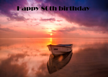 Boat moored at sunset 80th birthday card