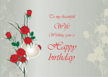 Red roses and heart Wife birthday card
