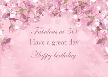 Pink floral 50th birthday card