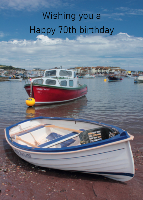 Boats in harbour 70th birthday card