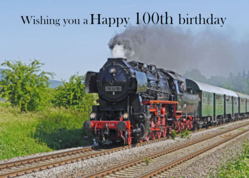 Steam train and carriages 100th birthday card