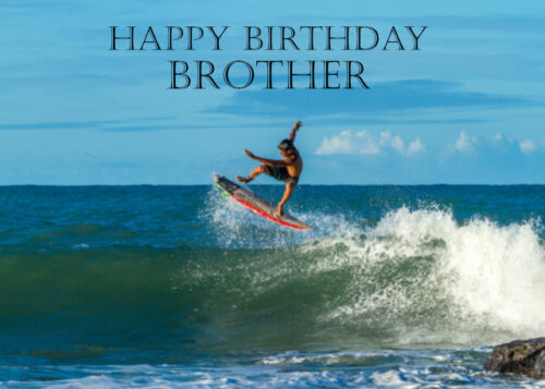 Male surfer Brother birthday card
