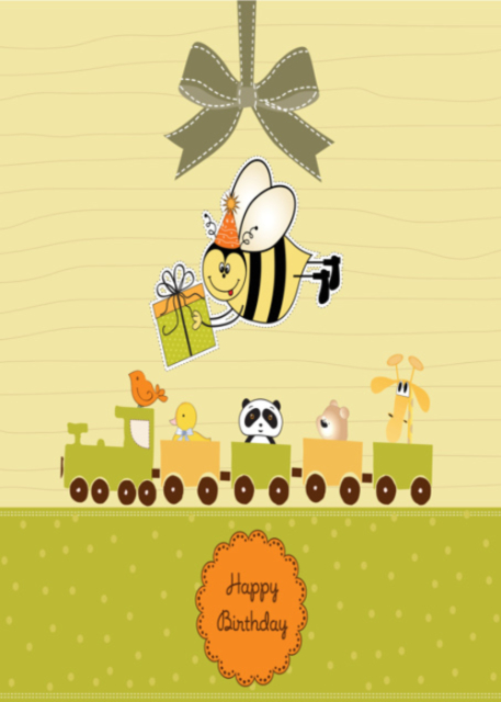 Happy birthday with train and carriages birthday card