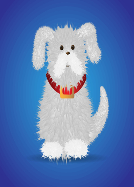 Cute puppy with blue background birthday card