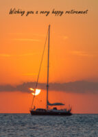 Yacht at sunset retirement card
