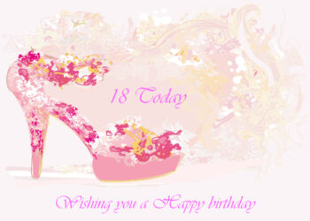 Floral pink high heeled shoe 18th birthday card
