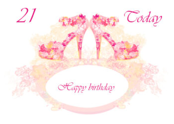 Pink floral high heeled shoes 21st birthday card