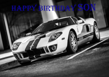 Ford GT black and white Son birthday card with blue text