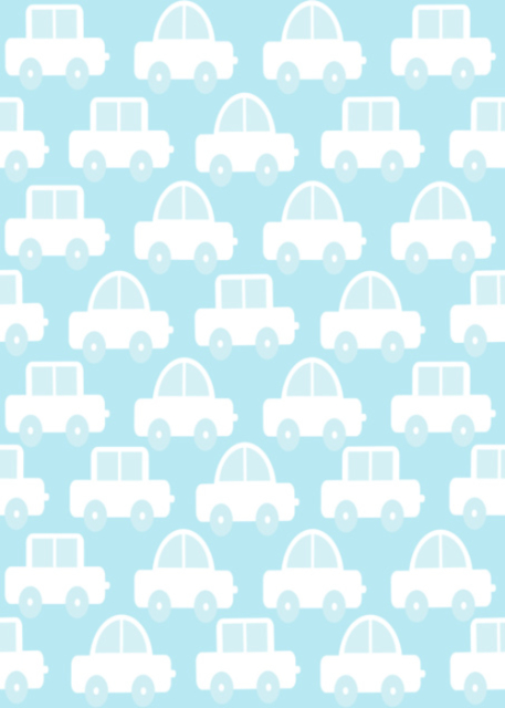 Cars with pale blue background birthday card